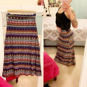 Hot kiss colorful patterned maxi skirt